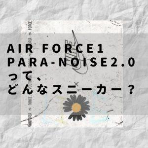 【PEACEMINUSONE】AIR FORCE1 パラノイズ ってどんなスニーカー?【偽物の見分け方?簡単な剥がし方!】